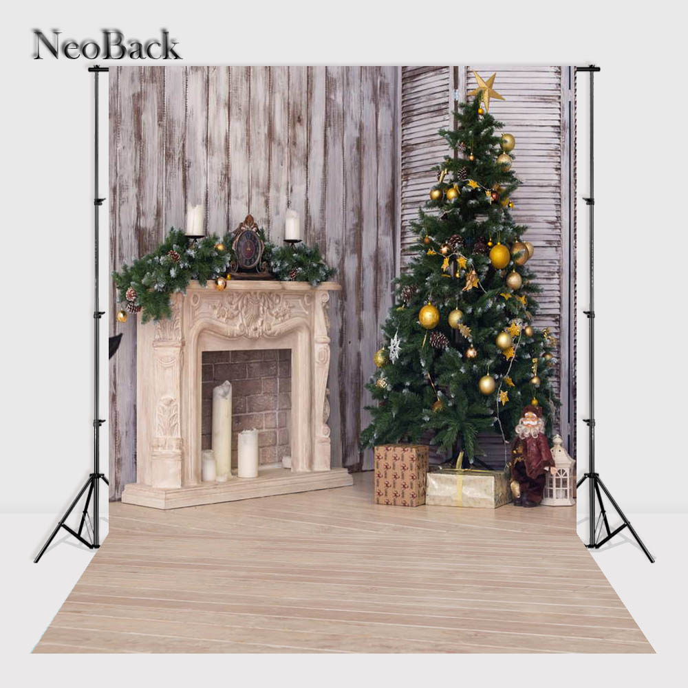 NeoBack    New 5X7ft  baby Christmas gifts backdrop  Printed vinyl fireplace photography background photo studio A1117 thin vinyl vintage book shelf backdrop book case library book store printed fabric photography background f 2686