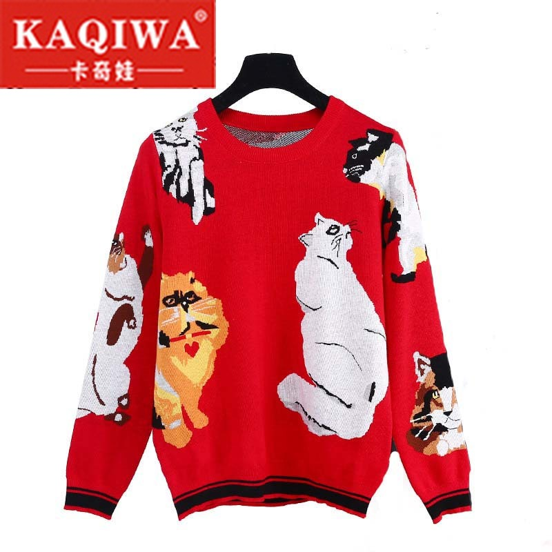 2018 New Sweet 7 Cats Pattern Red Knit Pullover Chic Women Jumper Brand Designer Christmas Funny Tops Lady's Sweater