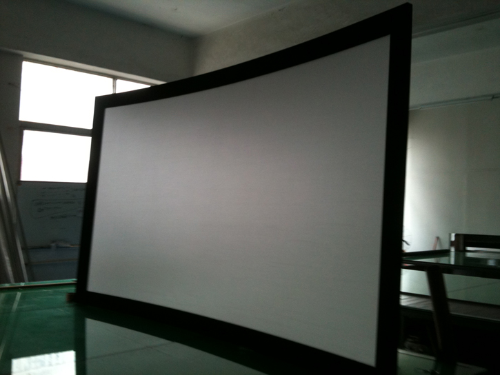 Top rank !! 100inch 16:9 3D silver fabric fixed frame projector screen with black velvet  for HD cinema/ screens