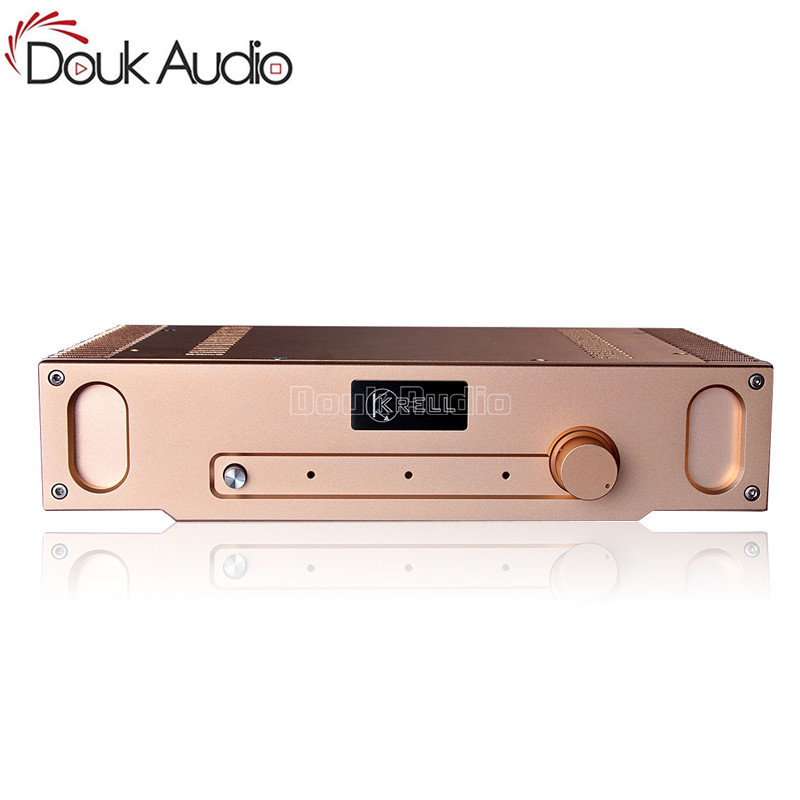 Douk Audio Gold Aluminum Chassis Class A Power Amplifier Enclosure DIY Case W336*H75*D208mm a910 isoundyou aluminum host shell digital audio power amplifier gold