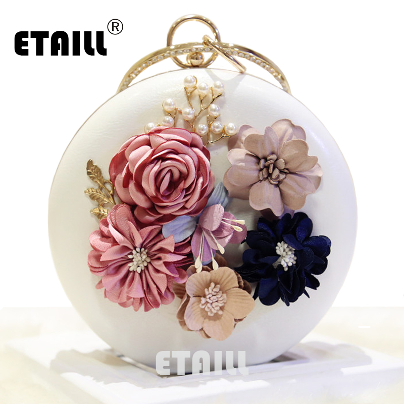 ETAILL Flower Decoration Round Handbag Candy Color Soft PU Leather Circular Shoulder Bag Women Small Tote