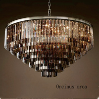 American Style Iron Crystal Round Chandelier Villa Living Room European Style Modern Creative LED Chandelier Free
