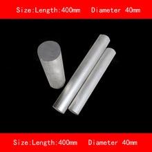 smooth surface length 400mm diameter 40mm silver 6061# aluminum rod bar