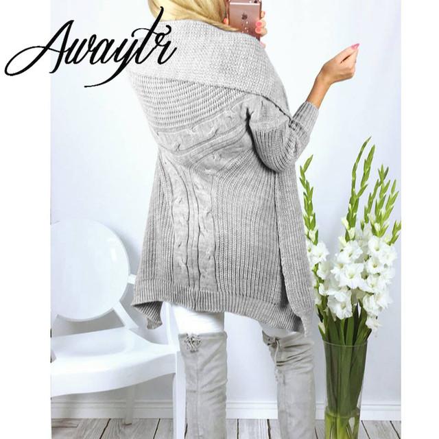 Awayt Mujeres Rebecas Del Suéter 2017 Otoño Invierno de la Señora Suéter de Punto Sexy Mujeres Batwing Manga Jumper Sweater Tops Coat C3069