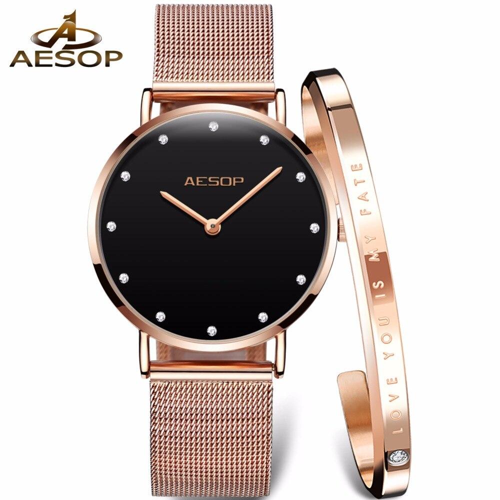 Модные женские часы японский механизм кварцевые часы для женщин AESOP бренд большой циферблат со стразами женские наручные часы relogio feminino
