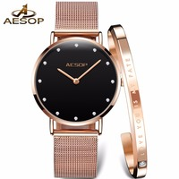 Fashion Women watches Japan movement Quartz watch women AESOP brand Big dial Rhinestone Ladies wristwatch Clock relogio feminino