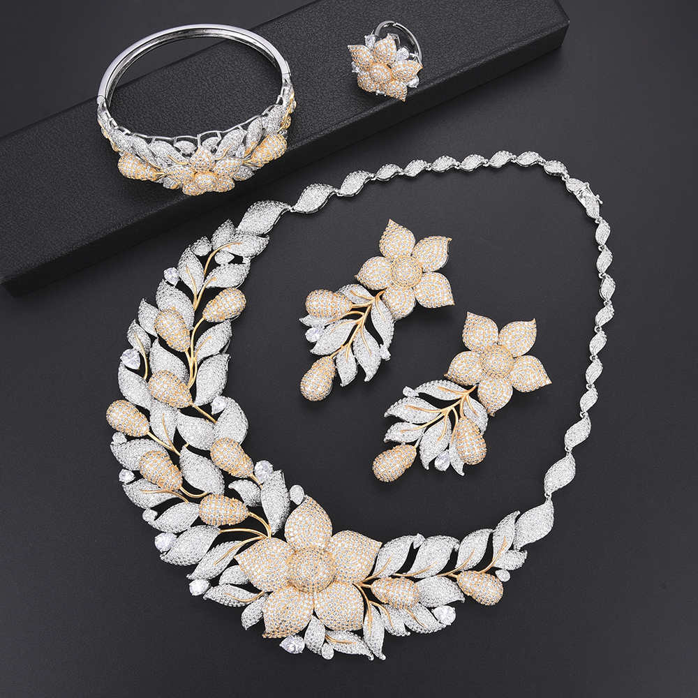 Women Fashion Blossom Cubic Zirconia ethiopian jewelry dubai jewelry sets Necklace Earrings Bracelet Ring wedding jewelry Women Fashion Blossom Cubic Zirconia ethiopian jewelry dubai jewelry sets Necklace Earrings Bracelet Ring wedding jewelry