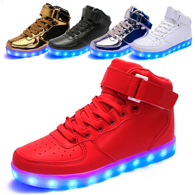 f48d349b7f LED Shoes Men Light Up Leisure USB Charging Casual High Top Led Glowing  Shoes 11 Led Colors Size 35-46 Unisex Hot Fashion