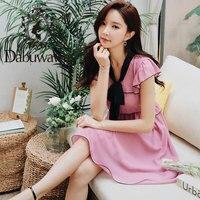 Dabuwawa Women Summer Dress 2019 New Bow Tie Pink Ruffled Fairy Dresses Office Lady Elegant Solid Dress DN1BDR073
