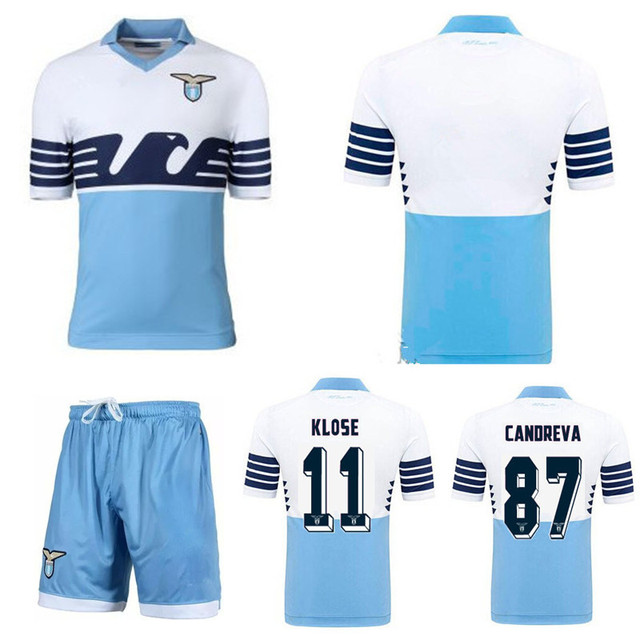 50a2187a4 Top thai quality 2015 16 Italy FC Lazio home Soccer Jerseys+short  11 KLOSE  15 16 football shirt CANDREVA blue 115 years kit set