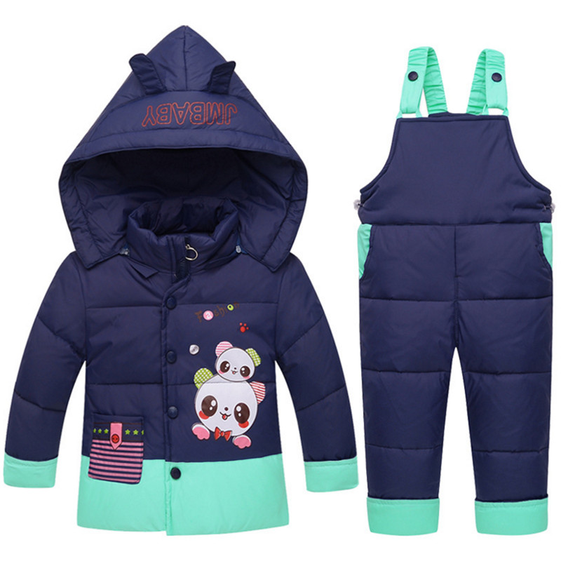 2017 1-4Yrs Winter Children Clothing Set Baby Cartoon Print Hooded Down Coat+Overall Pants 2pc Suits Toddler Boys/Girls Clothes baby boys sets cartoon dinosaur animal shapes children s clothing spring fall flannel coat with hood pants kids wear 0 2 yrs