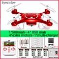 Syma x5uw x5uc rc drone 720 p wifi cámara fpv helicóptero altura mantenga Una Llave Land 2.4G 4CH 6 Axis RC Quadcopte con 5 baterías