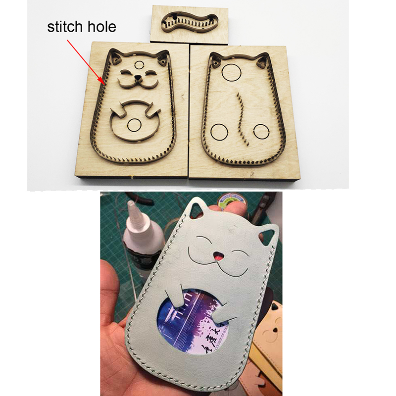 3pcs Japan Steel Blade DIY Leather Craft Cute Cat Card Holder Bag Die Cutting Knife Mould Hand Machine Punch Tool Set 115x78mm