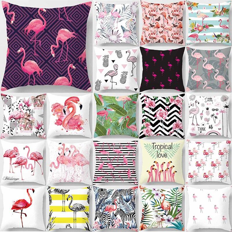 Pillow case flamingos tropical plants double sides pattern square cover size pillow 45*45