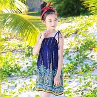 b82380d02f CHINGROSA Flowers Printed Shoulderless Straps Girls Mini Dress Princess  Beach Summer Dresses Kids Clothing Vestidos Infantil
