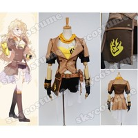 RWBY Yellow Trailer Yang Xiao Long Dress Gloves Anime Girls Halloween Party Cosplay Costume Free Shipping