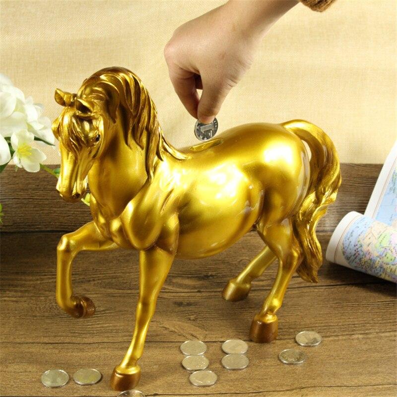 Résine cheval tirelire coffre-fort mignon cadeau décoration de la maison argent banque de pièces créatif mariage argent boîte de rangement économie Moneybox Statues