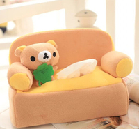 Cute 1pc 24cm Cartoon Lovely Sofa Rilakkuma Plush Paper Towel Case Vehicle Tissue Stuffed Toy Creative