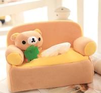 Cute 1pc 24cm Cartoon Lovely Sofa Rilakkuma Plush Paper Towel Case Vehicle Tissue Stuffed Toy Creative