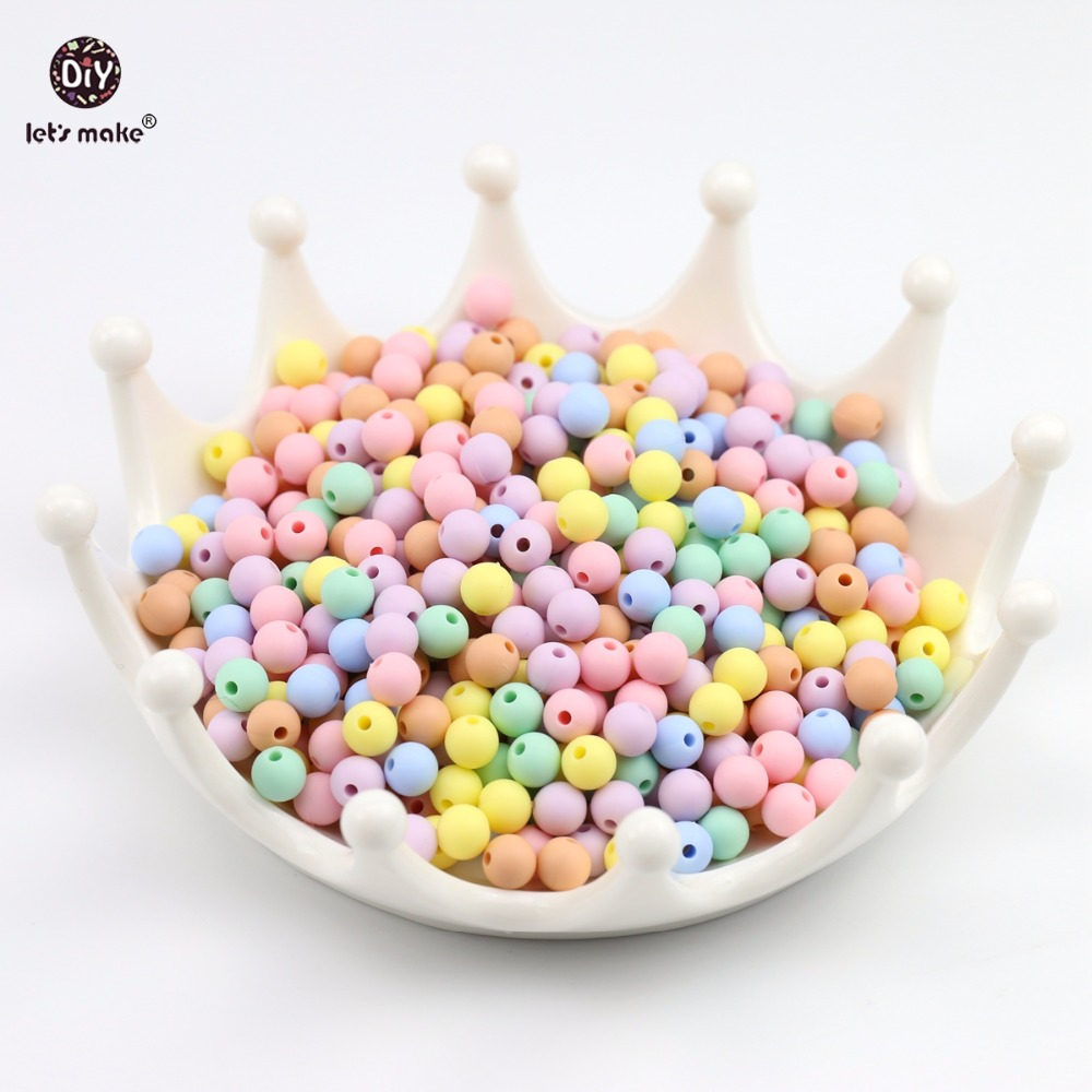 Lets Make Baby Teething Balls Silicone Beads 100pc 9mm Candy Colors Sensory Food Grade DIY Nusring Jewelry Accessories Beads