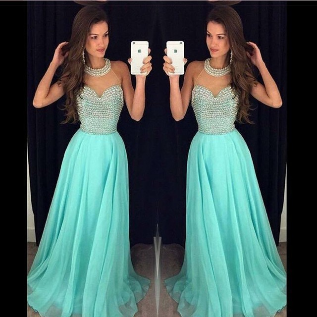 Sexy Halter Long Turquoise Prom Dresses 2017 Abendkleider Chiffon A ...