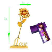 Stunning Valentines Day/ Birthday /Wedding Gift/Mother's Day 24k Gold Plated Rose Decoration Flower Gold Dipped Rose With box