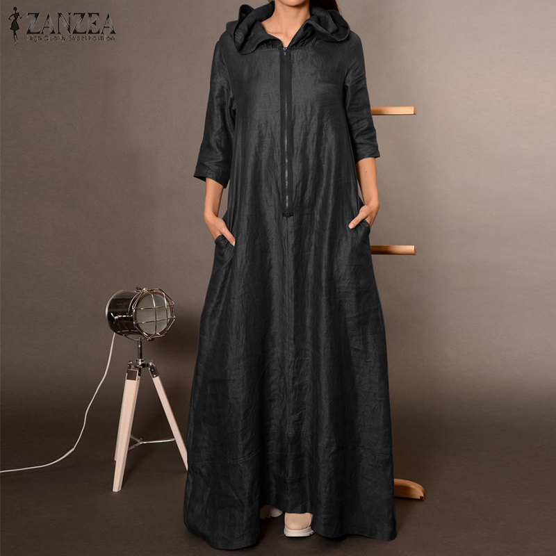 €13.66 39% СКИДКА|Женское винтажное платье с капюшоном ZANZEA, Осеннее длинное платье макси на молнии с рукавом 3/4, элегантное офисное однотонное платье Кафтан|Платья| |  - AliExpress