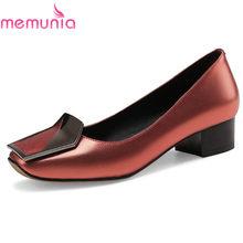 fe53b542a MEMUNIA/Брендовая женская обувь из натуральной кожи высокого качества без  шнуровки на толстом каблуке, цвет пистолета, Офисная ж.