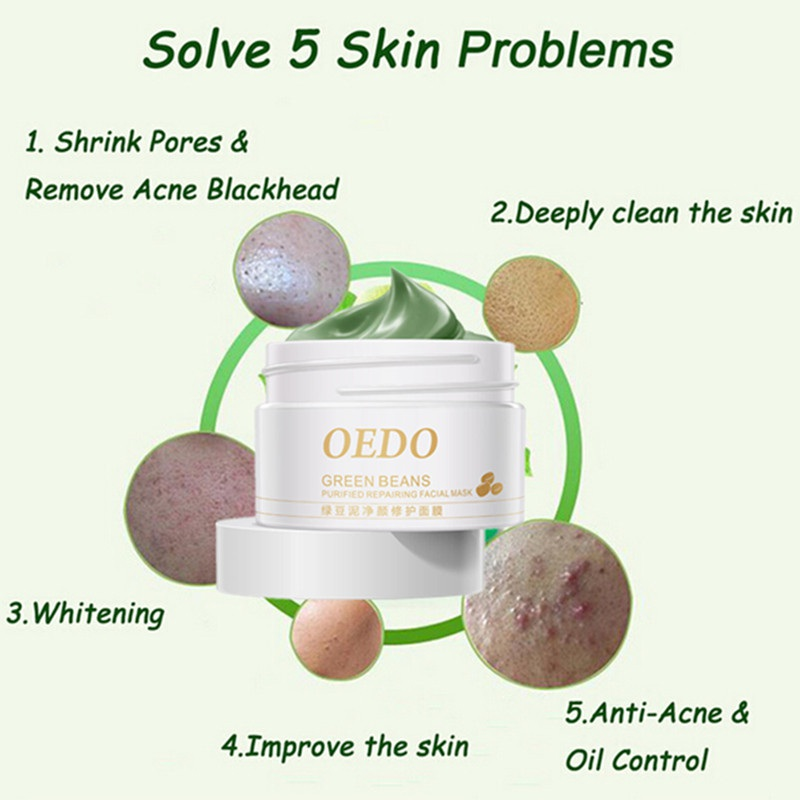 Flavor 100% True 100g Mung Bean Mud Mask Hydrating Moisturizing Face Mask Oil Control Deep Cleansing Mask Mud A Fragrant In