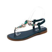 Casual Woman Sandals Woman Shoes Rhinestones Chains Thong Gladiator Flat Sandals Crystal Chaussure Plus Tenis Feminino