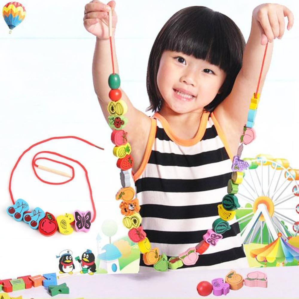 1 Set intéressant perles de laçage en bois animaux cordage blocs de jeu boîte en forme de coeur filetage éducatif mixte fruits jouet cadeaux - 2