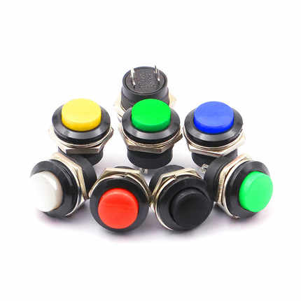 5PCS six color red green momentary button switches OFF-ON reset switch 16MM 3A 250V AC non-locking switch round button R13-507