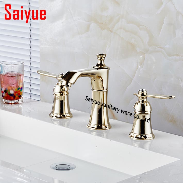Contemporary Widespread 3 Holes waterfall Bathroom Sink Faucet Gold ...