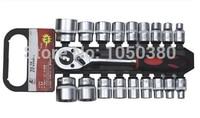 S 20pcs Drive 1/2 12.5mm Dr Socket set with quick release ratchet Combination Auto/Automotive/vehicles/car Repair Hand Tool