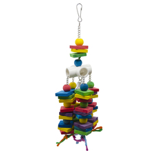 Wooden beads wooden blocks Parrot Toys Pet Bird Chew Toy Funny Swing Hanging Ladder Climbing For