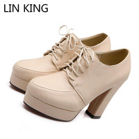 New Style Women Pumps Round Toe Thick Sole High Heel Shoes Lace Up Solid Square Heel