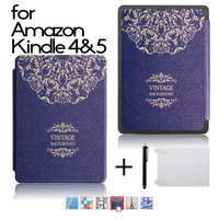 High Quality PU Leather Cover Case Folio Protective Shell Cover Case For Amazon Kindle 4 Kindle