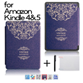 high quality PU leather cover case Folio protective shell cover case for Amazon kindle 4 kindle 5 + gift