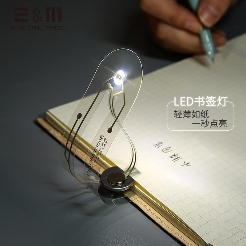 2PCS Ultrathin DIY LED Display Bookmark Reading Lamp Stand Creative Eye Protective Luminous Nightlight Stationery Supplies