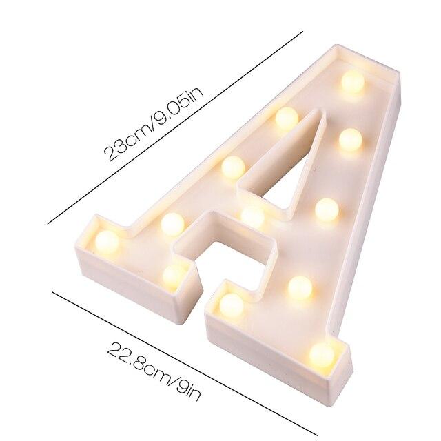 Lámpara de regalo del número del alfabeto de la letra del inglés creativa de la luz de la noche del LED luminosa de la Navidad decoración romántica de la boda del amor