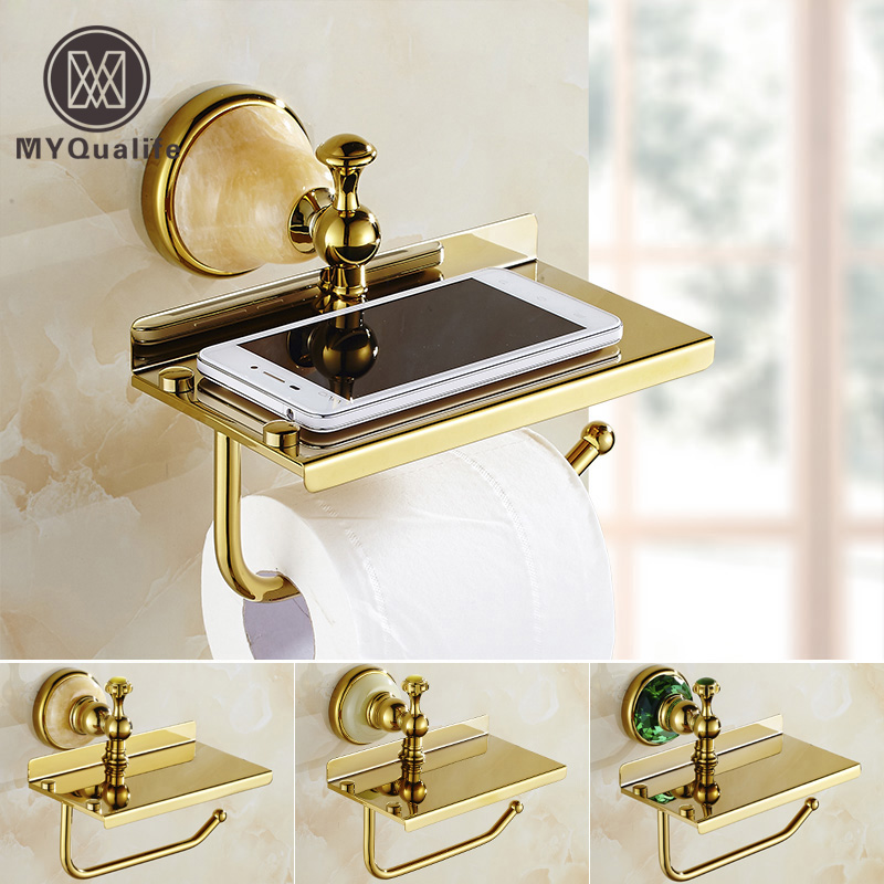 Free Shipping Golden Bathroom Brass/ jade Toilet Paper Holder Roll Tissue Paper Rack Roll Mobile Phone Rack brand new car dashboard cover for audi tt dash cover mat right hand driver
