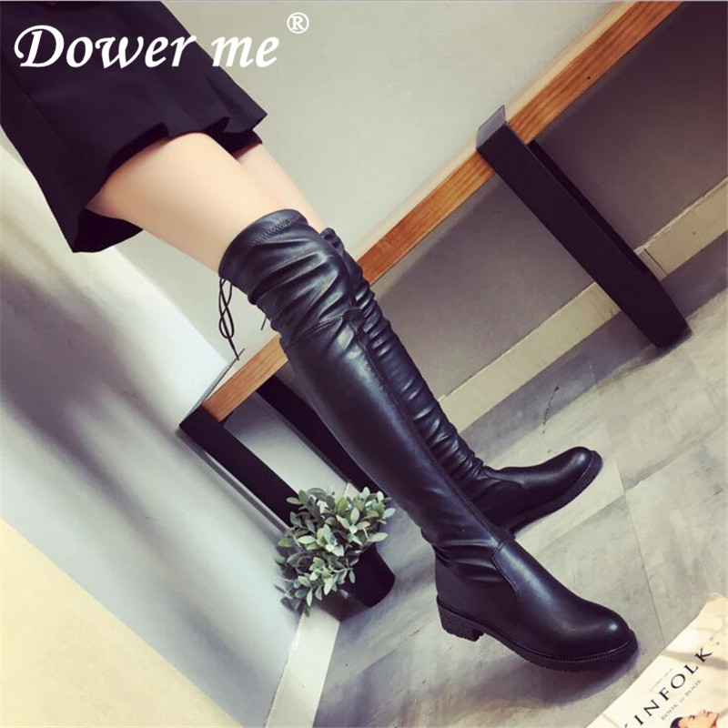 NEW 2019 autumn winter long boots NEW style women flat low heel over the knee boots female lace up Thigh High Comfortable Boots women ultrathin lace top sheer thigh high silk stockings fashion style new gh