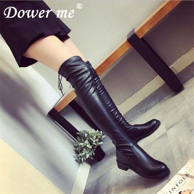 e41b69ed5 NOVO 2019 outono inverno longo botas mulheres NOVO estilo plano baixo salto  sobre o joelho botas