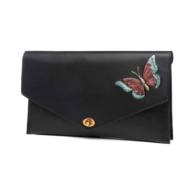 Women Vintage Butterfly Genuine Leather Hand Bag Coin Purse Lady Hand Bag Wristlet Clutch Bag Messenger Crossbody Shoulder Bags women genuine leather envelope bag large capacity lady day clutch hand bag wristlet banquet chain messenger shoulder bag handbag