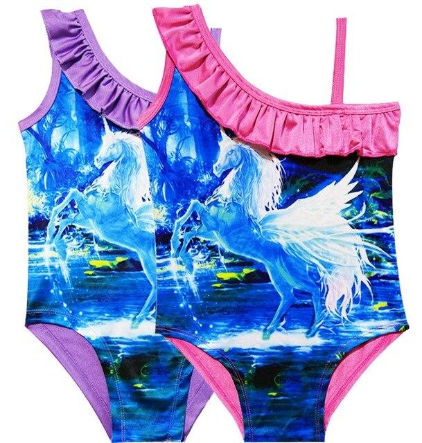 a51f7b47b3 Rainbow unicorn Kids Swim Wear For Girls 2018 Cute Pony Swimsuit 1Pc  Mermaid Swim Wear Beach Baby Girl Swim suit Party 7927