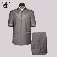 2016夏ショートスリーブブレザージャケット卸売服ブレザー男性ファッション新しいカジュアルブレザーサファリスーツjaqueta masculina