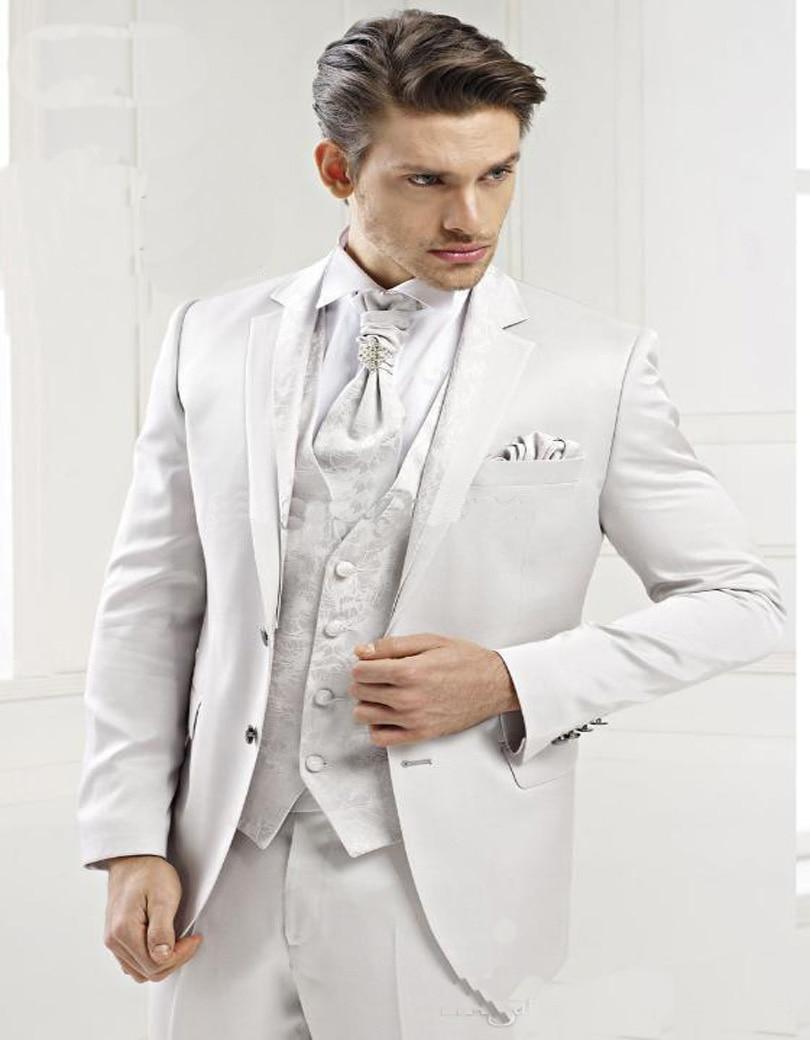 Fashion Slim Fit White Mens Suits One Button Shawl Lapel
