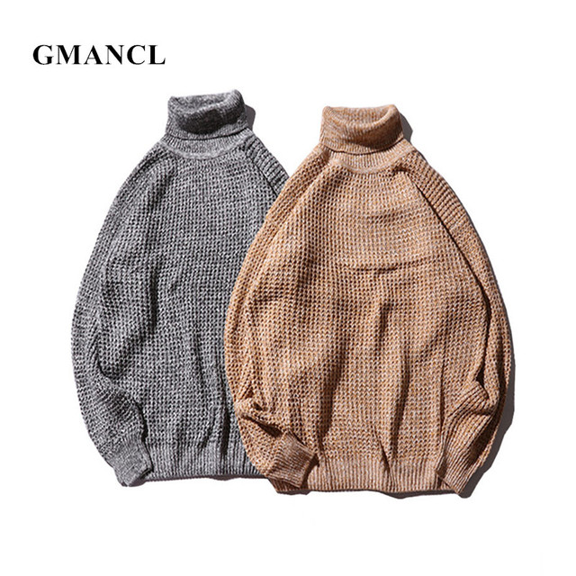 GMANCL New Oversized Men Solid Turtleneck Knitted Pullover Autumn Long  sleeve High quality Vintage Loose Men Casual Sweaters a304812a1