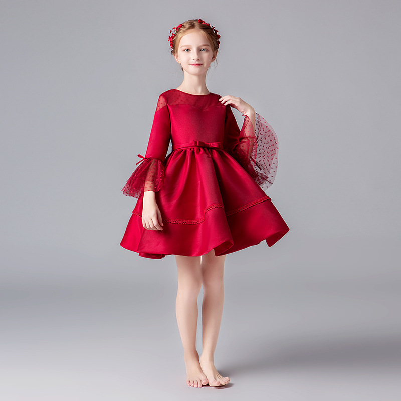 New Arrival Hot Red Wine   Flower     Girl     Dresses   For Wedding Custom Made Pageant   Dress   Sleeveless and Appliques Satin
