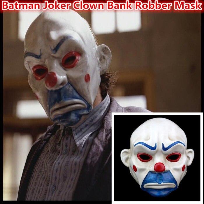 100% Resin Batman Dark Knight Adult Joker Clown Bank Robber mask Costume Halloween Masquerade party fancy dress free shipping